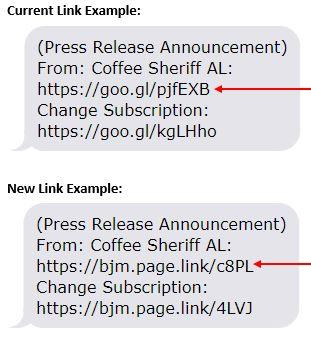 Screenshots of current text alert link example compared to new text alert link example